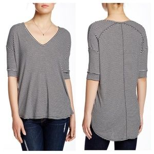 H by BORDEAUX Stripe V Neck Top Ribbed Hi Lo Elbow